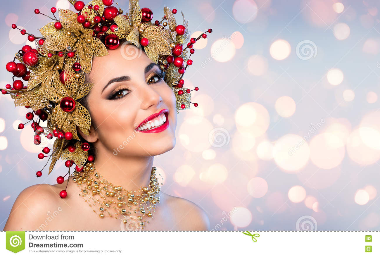 Christmas Woman Fashion Model With Golden And Red Hairstyle Stock Photo Image Of Happiness Fashion 78665798