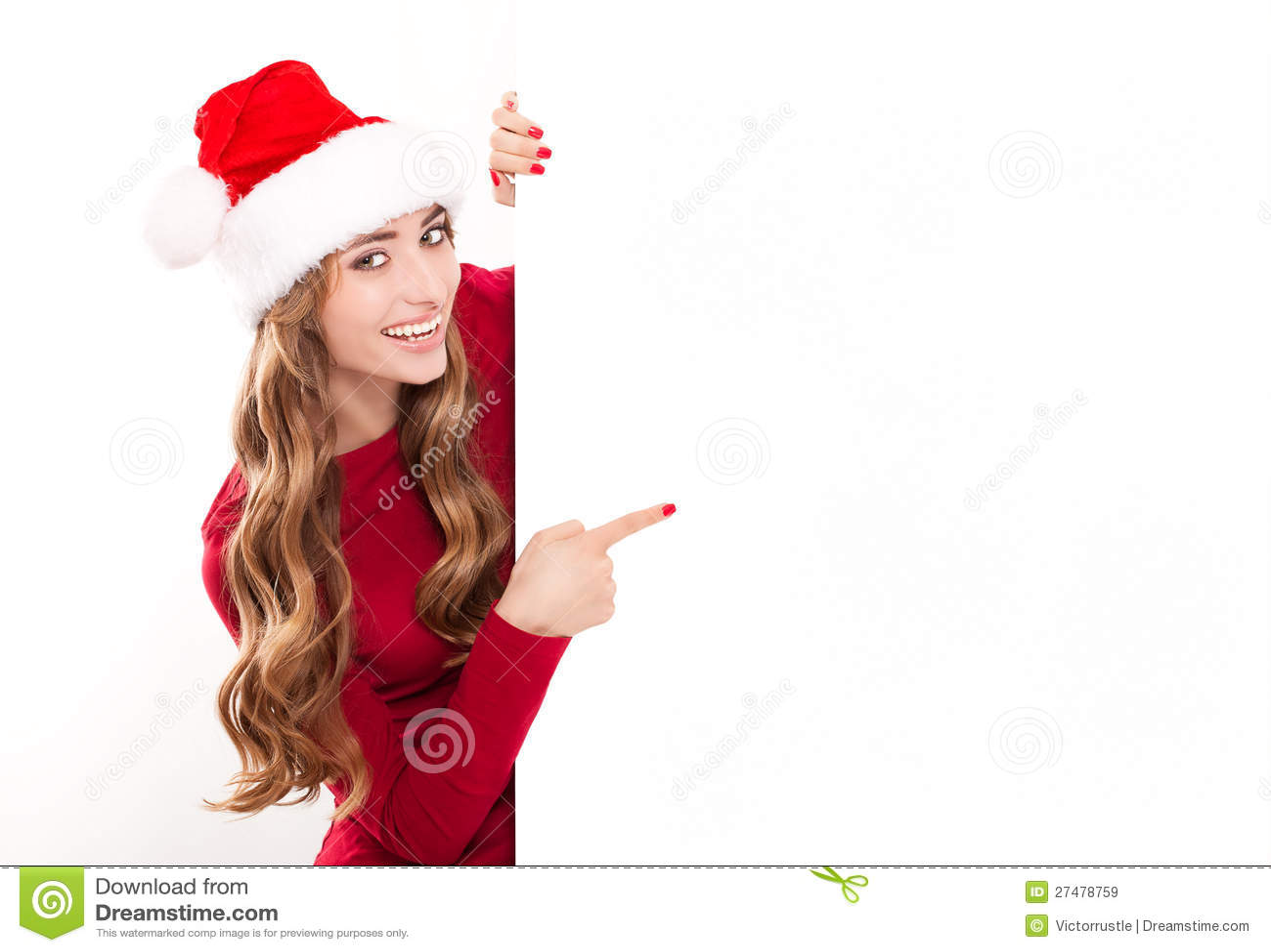 Christmas Woman With Gift Stock Image Image Of High