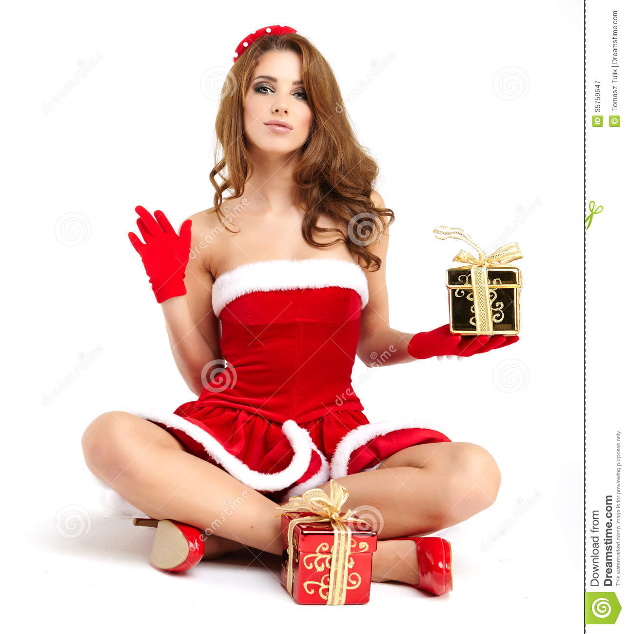 Christmas Woman With Gift Stock Image Image Of Person
