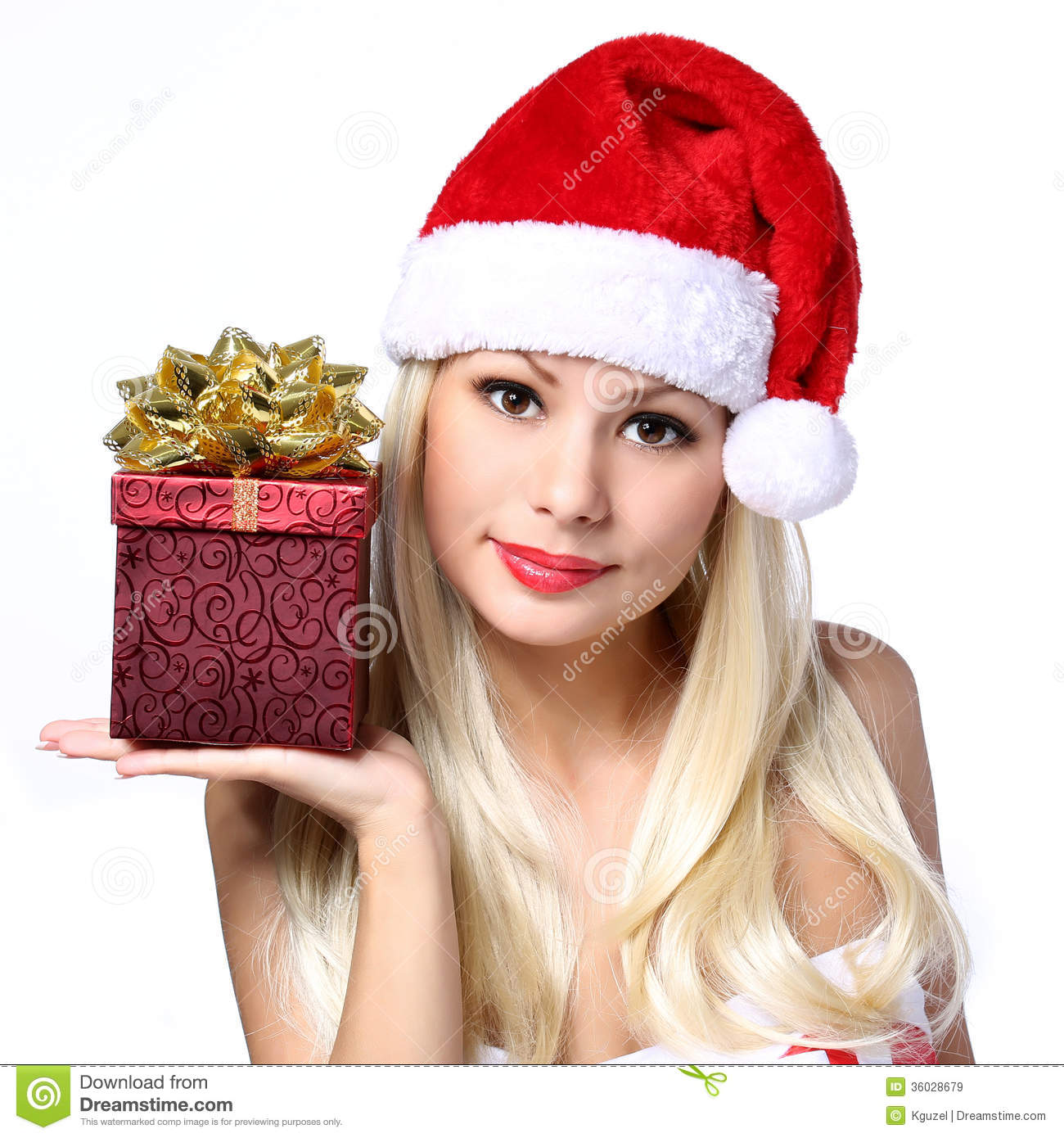 Christmas Woman With Gift Box. Happy Beautiful Blonde Girl