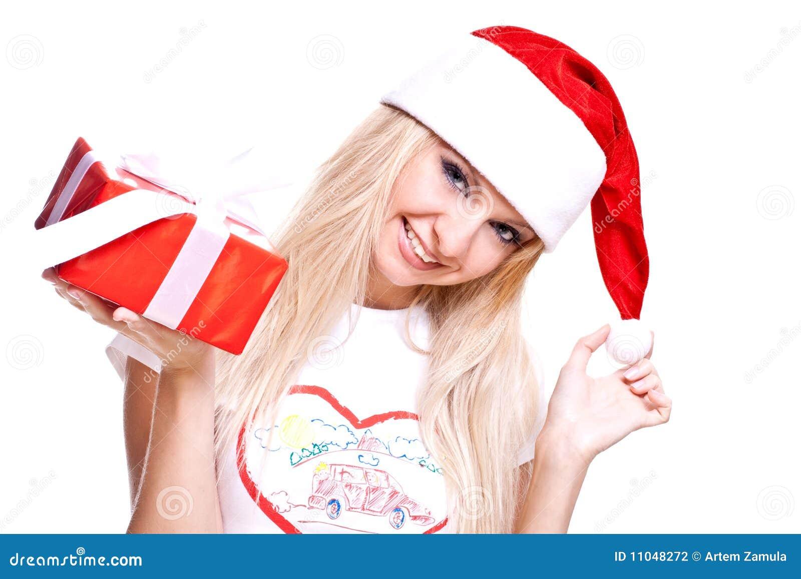 Christmas Woman With Holiday Gift Stock Photography