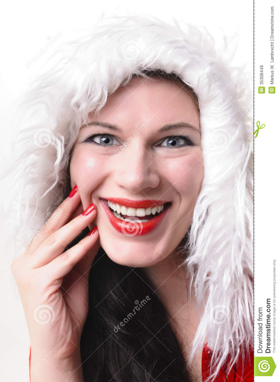 Christmas woman laughing stock image of santa