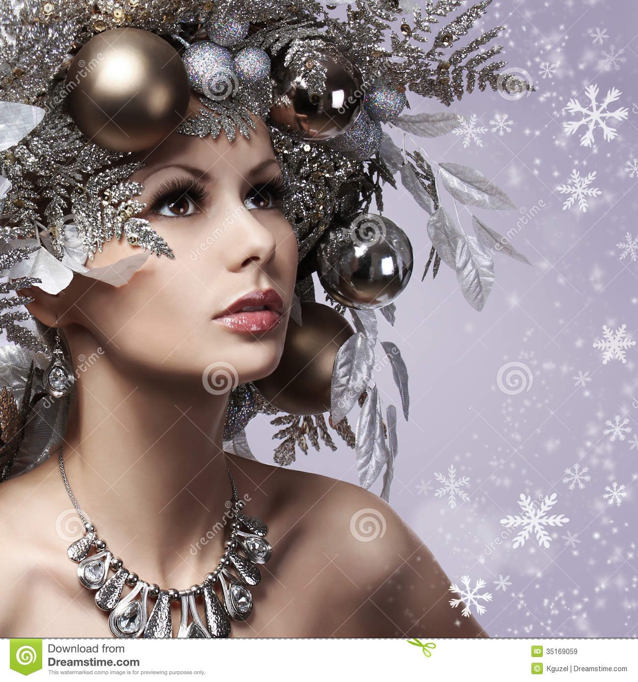 christmas woman with new year decorated hairstyle  snow queen  p royalty free stock images