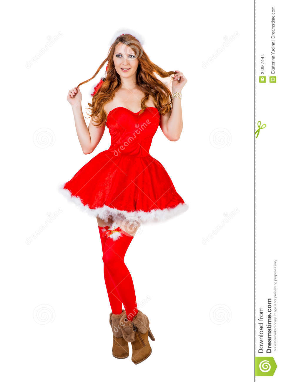 Christmas woman wearing red santa claus clothes and red stockings