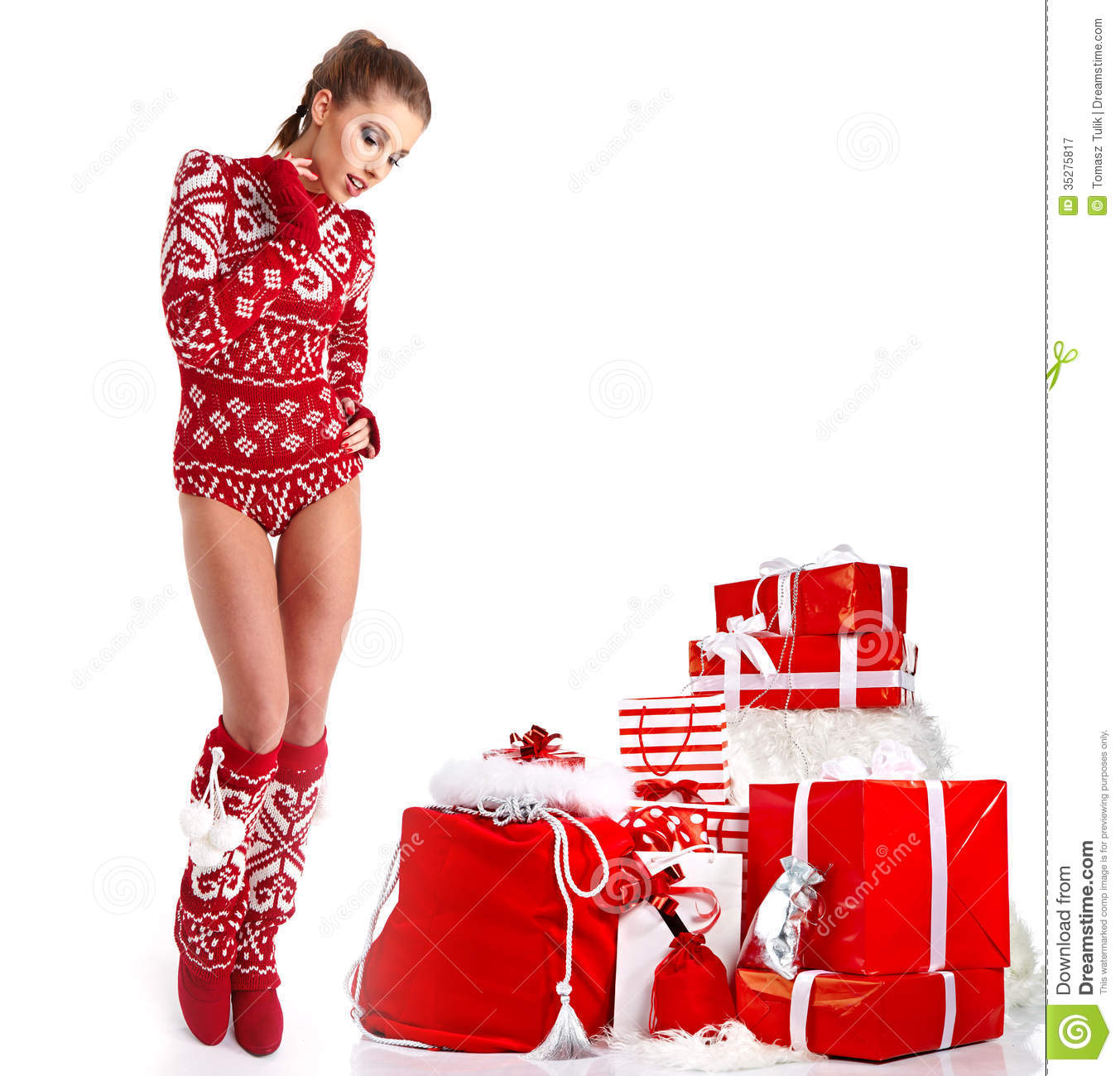 christmas woman in winter clothes stock image image of positive skin 35275817. Black Bedroom Furniture Sets. Home Design Ideas