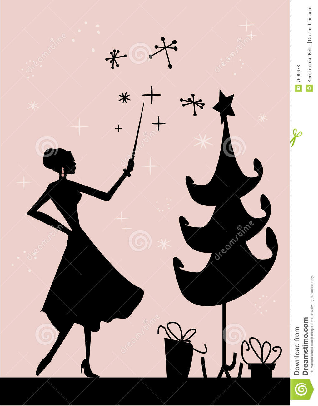 Christmas woman silhouette in front of a Christmas tree, illustration.