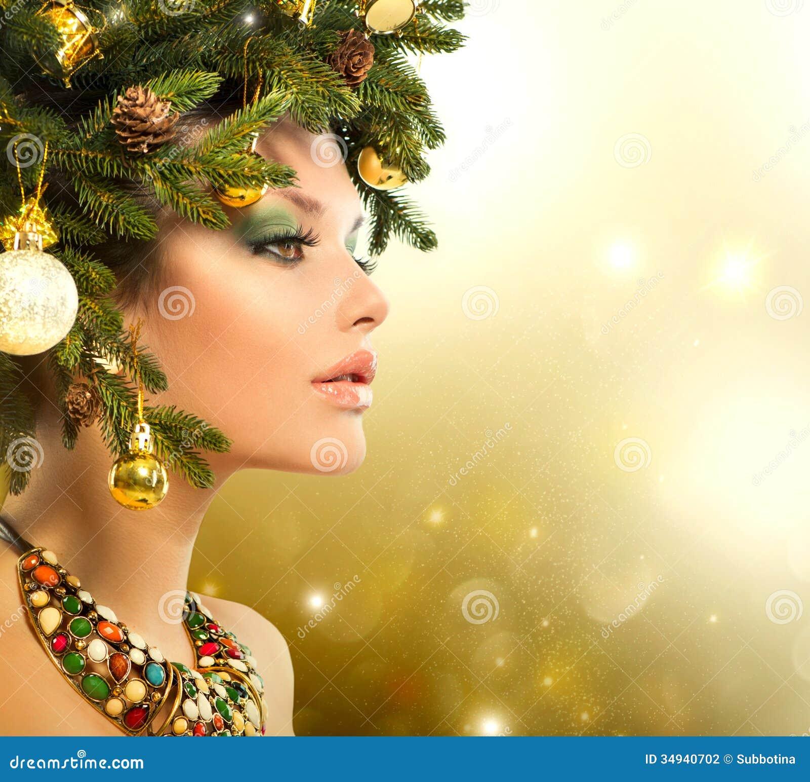 christmas tree hair girl