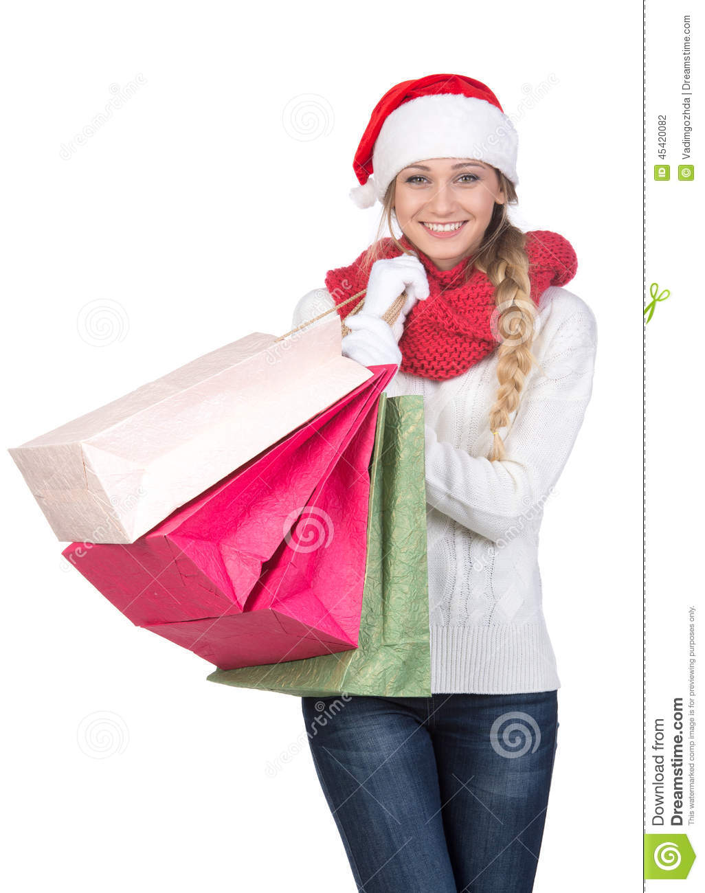 Christmas women stock photo. Image of attractive, isolated - 45420082