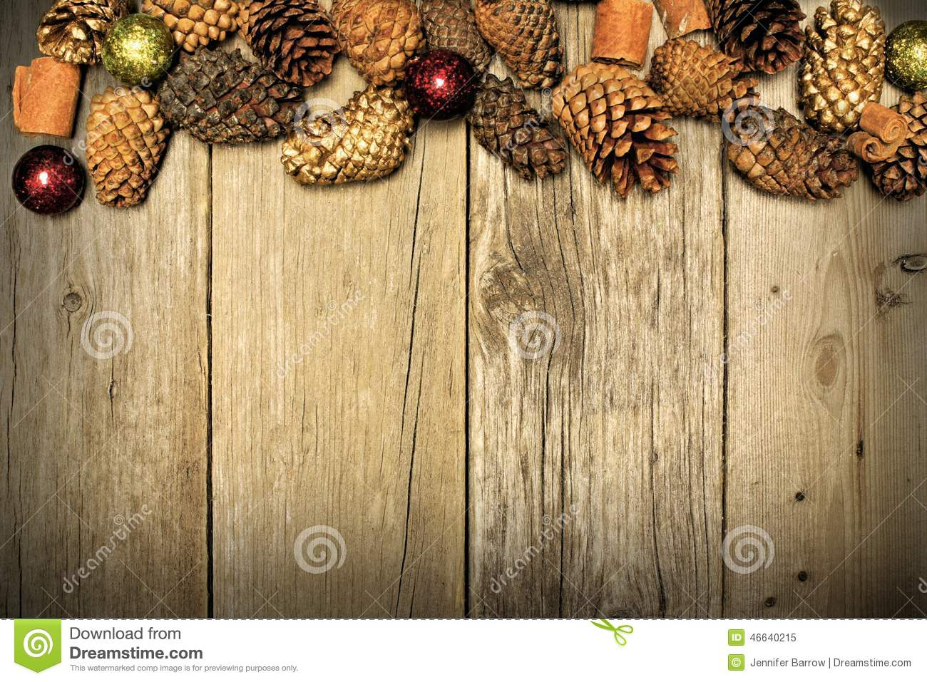 Christmas Wood Background And Pine Cone Border Stock Photo