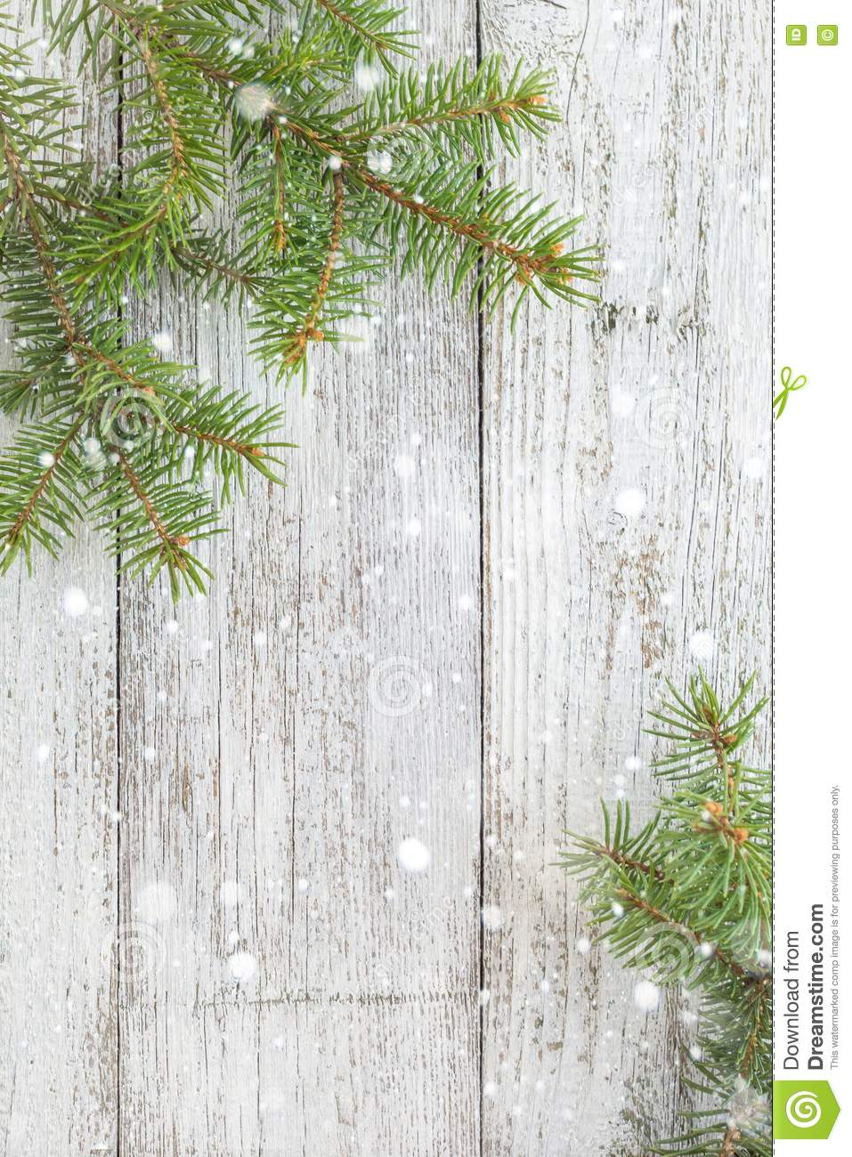 Christmas Wooden Background With Fir Tree  Top View Copy Space Stock