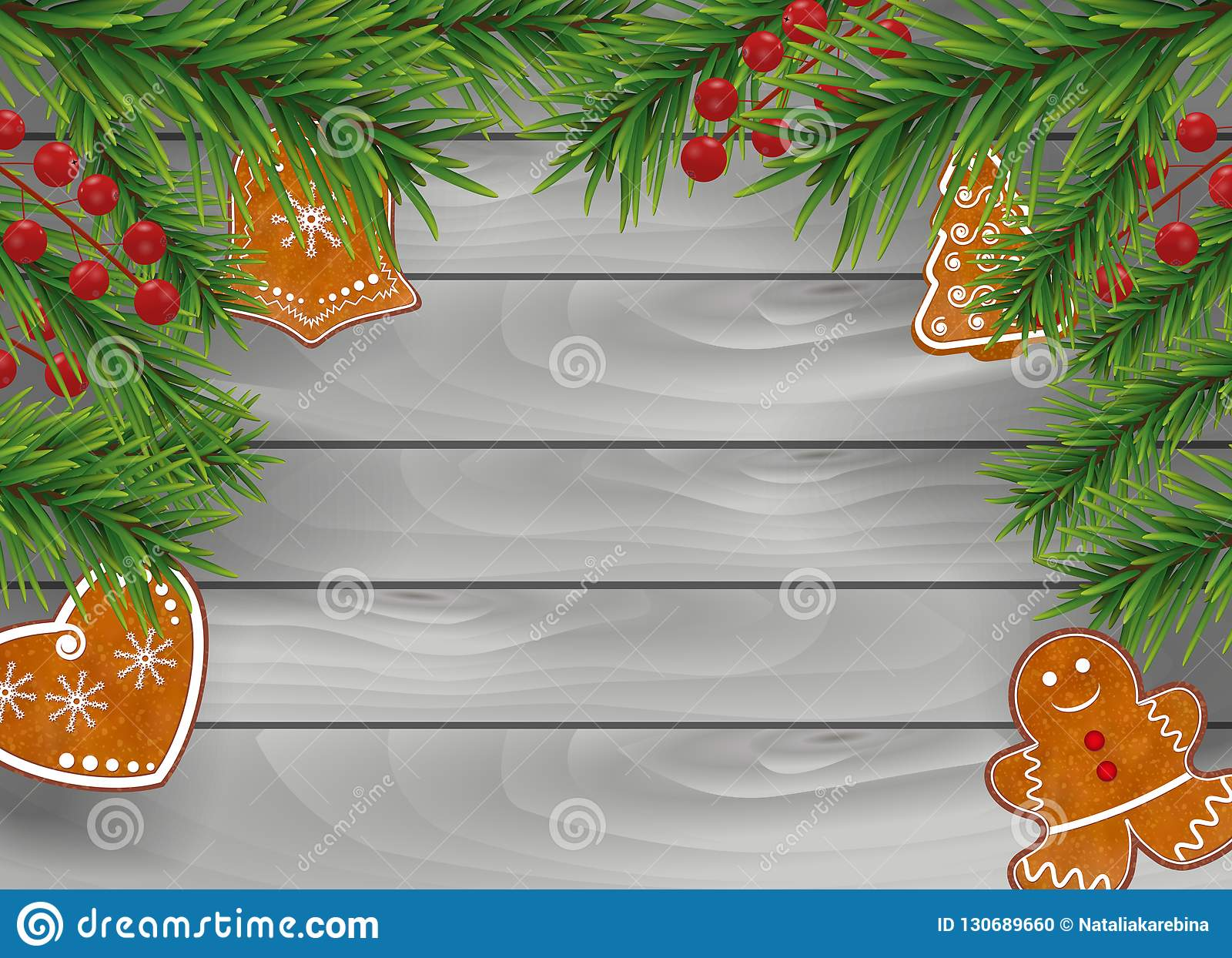 Christmas Wooden Background With Gingerbread Cookies Christmas Tree