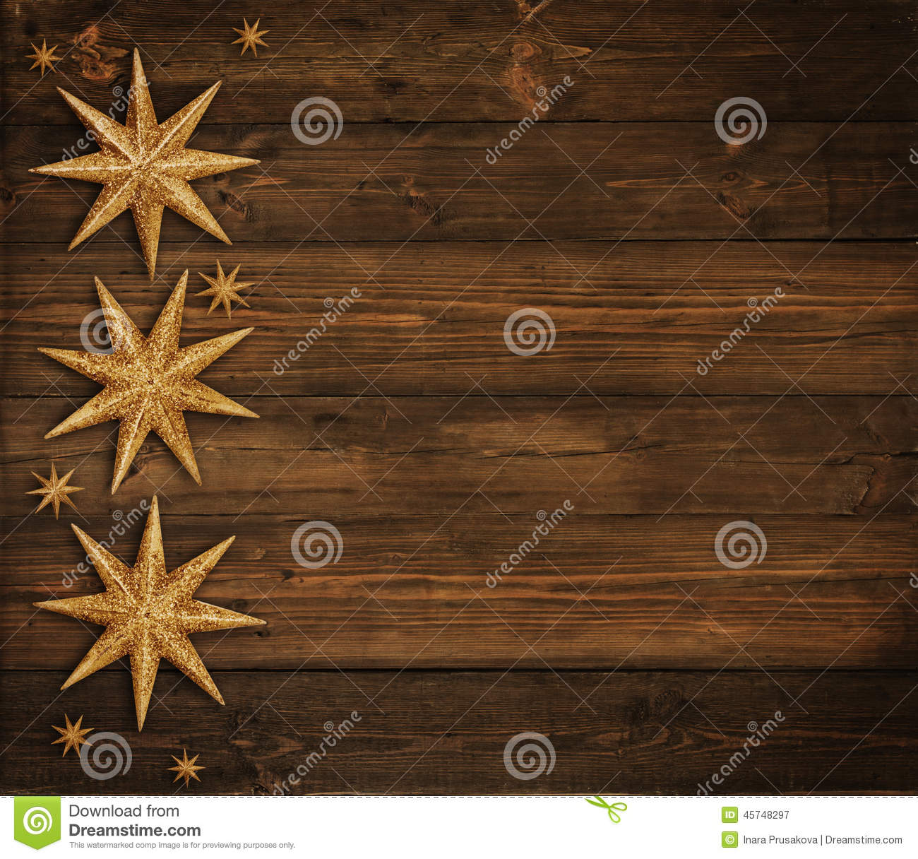 Christmas Wooden Background, Golden Stars Decoration, Brown Wood