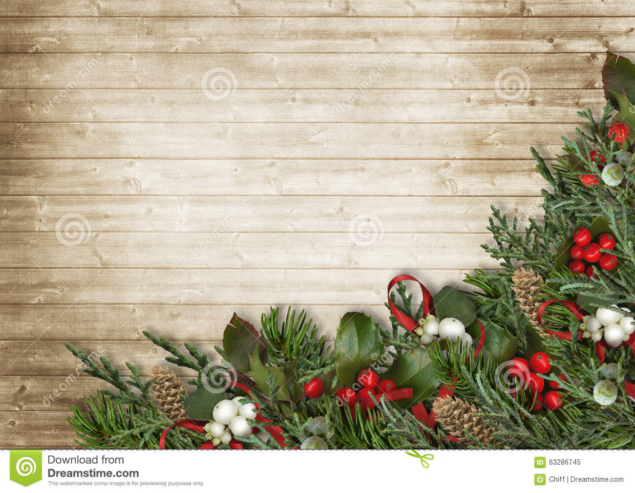 Christmas Wood Background.Christmas Wooden Background With Poinsettia Holly And Fir