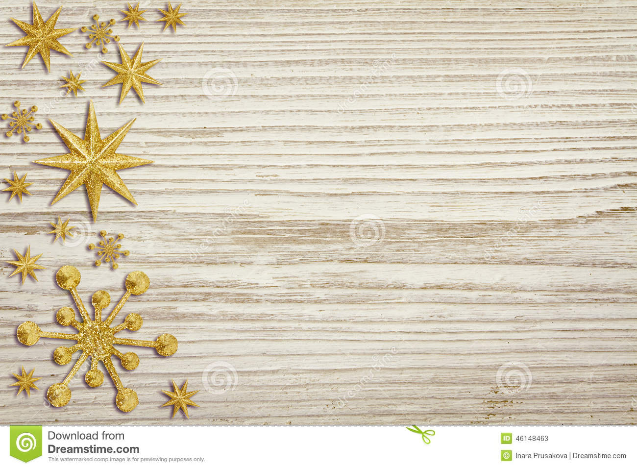 Decorative White Boards christmas wooden background, snow stars decoration, white wood