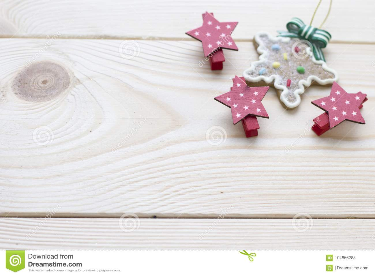 Christmas Wooden Background Stars And Gingerbread Stock Photo