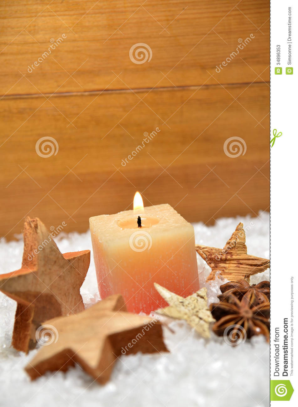 Christmas wooden star candle snow stock photos image for 7 candle christmas decoration