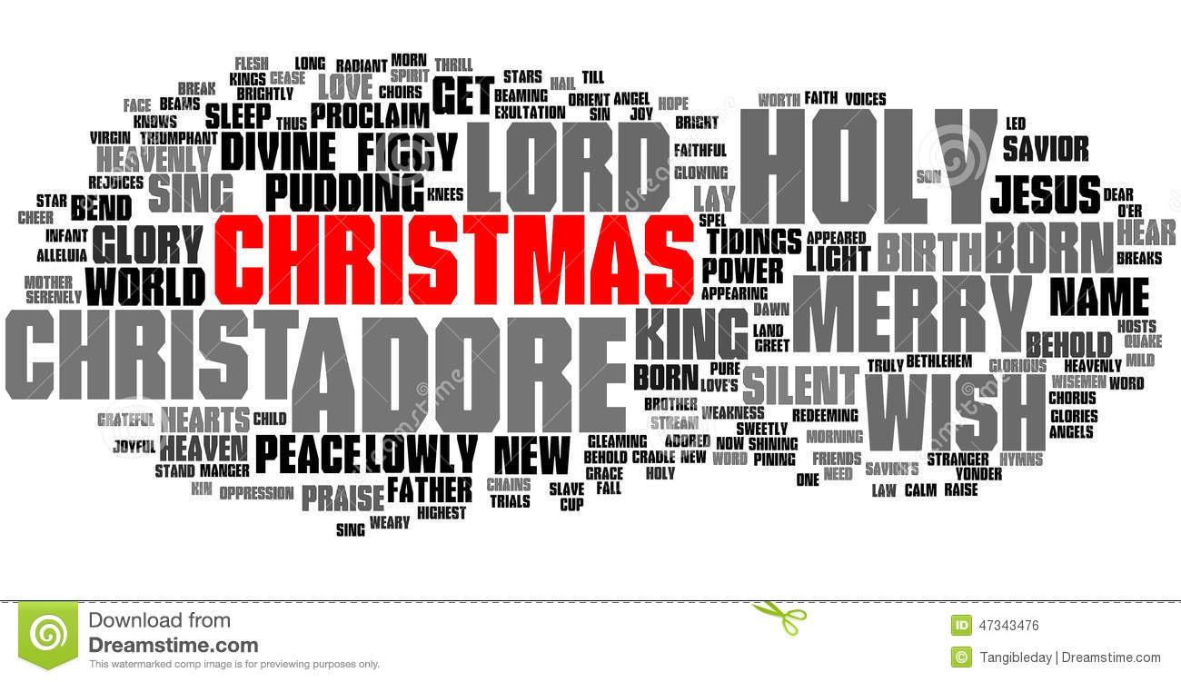 Christmas Word Cloud, Red Text Stock Illustration