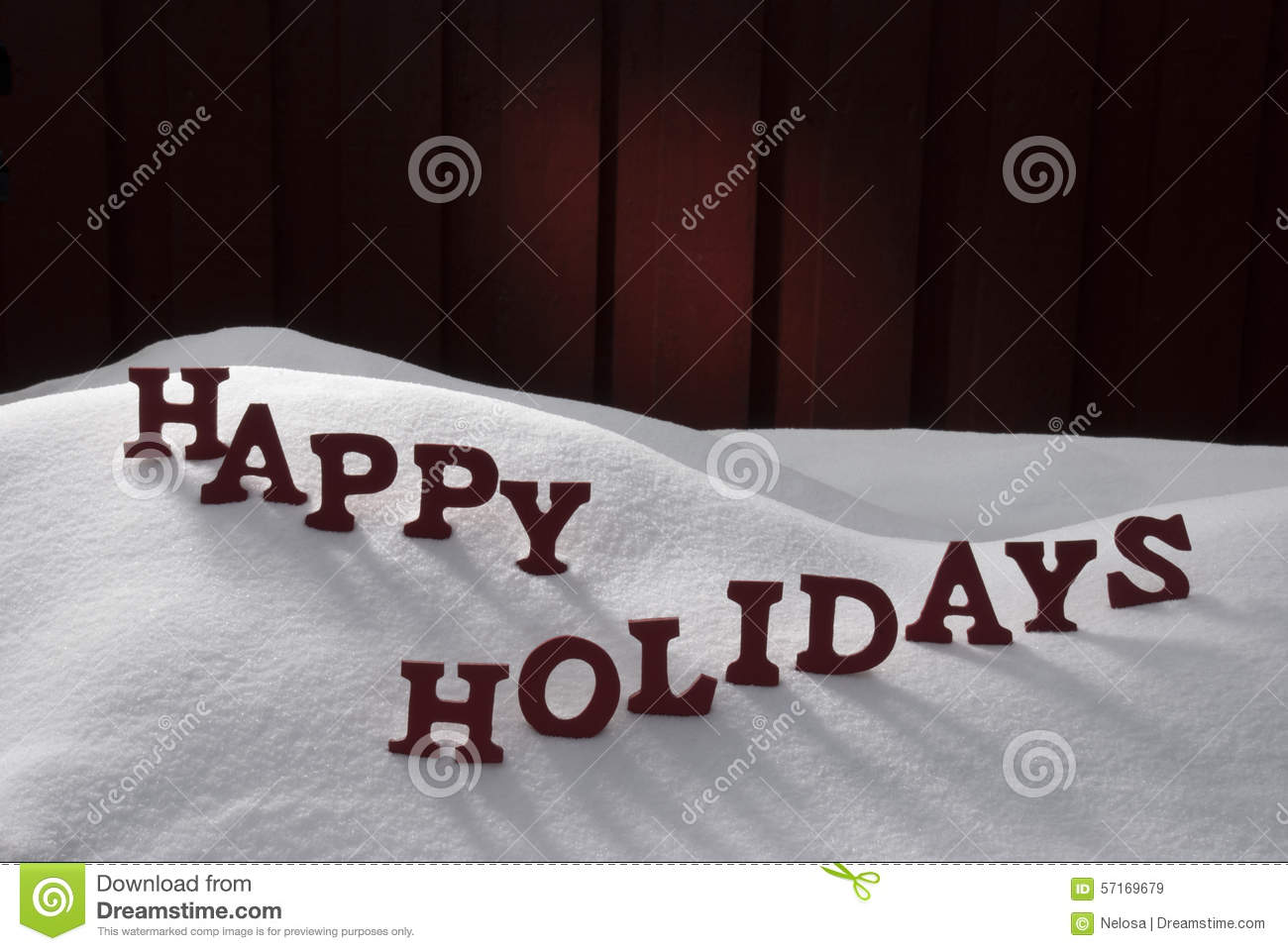 Christmas Word Happy Holidays On Snow Stock Image