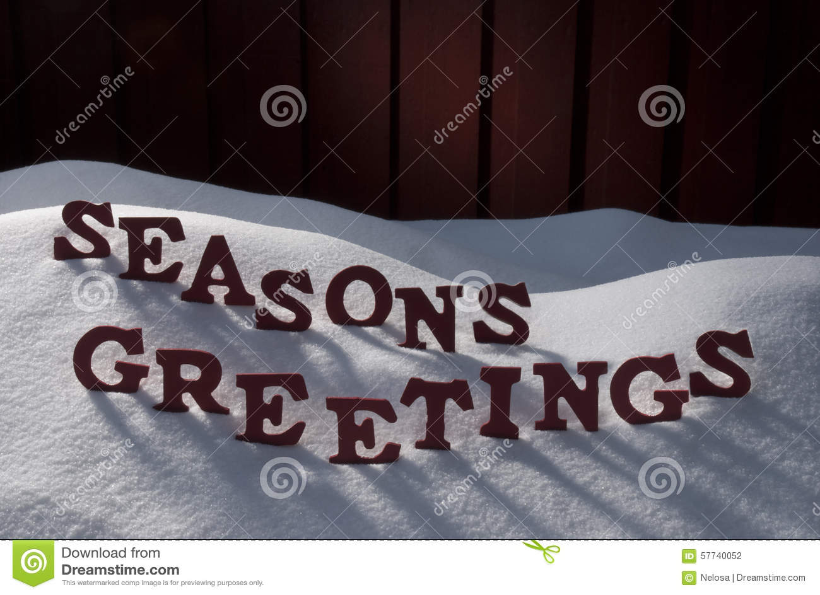 Christmas Word Seasons Greetings On Snow Stock Photo - Image of ...