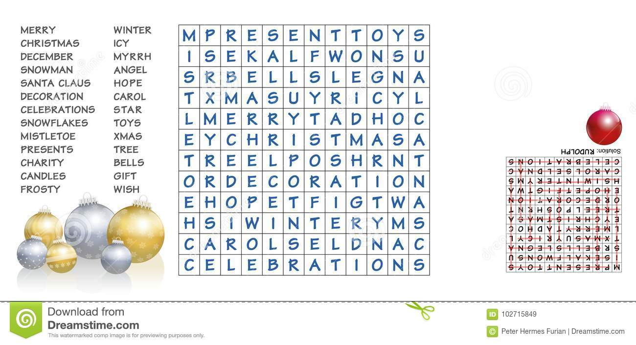 download christmas words search puzzle stock vector illustration of character presents 102715849