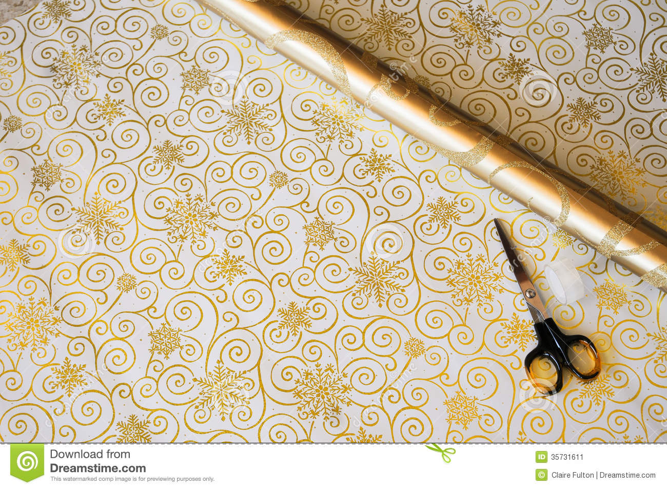 Gold Christmas Gift Wrap And Scissorss Stock Image - Image: 35731611