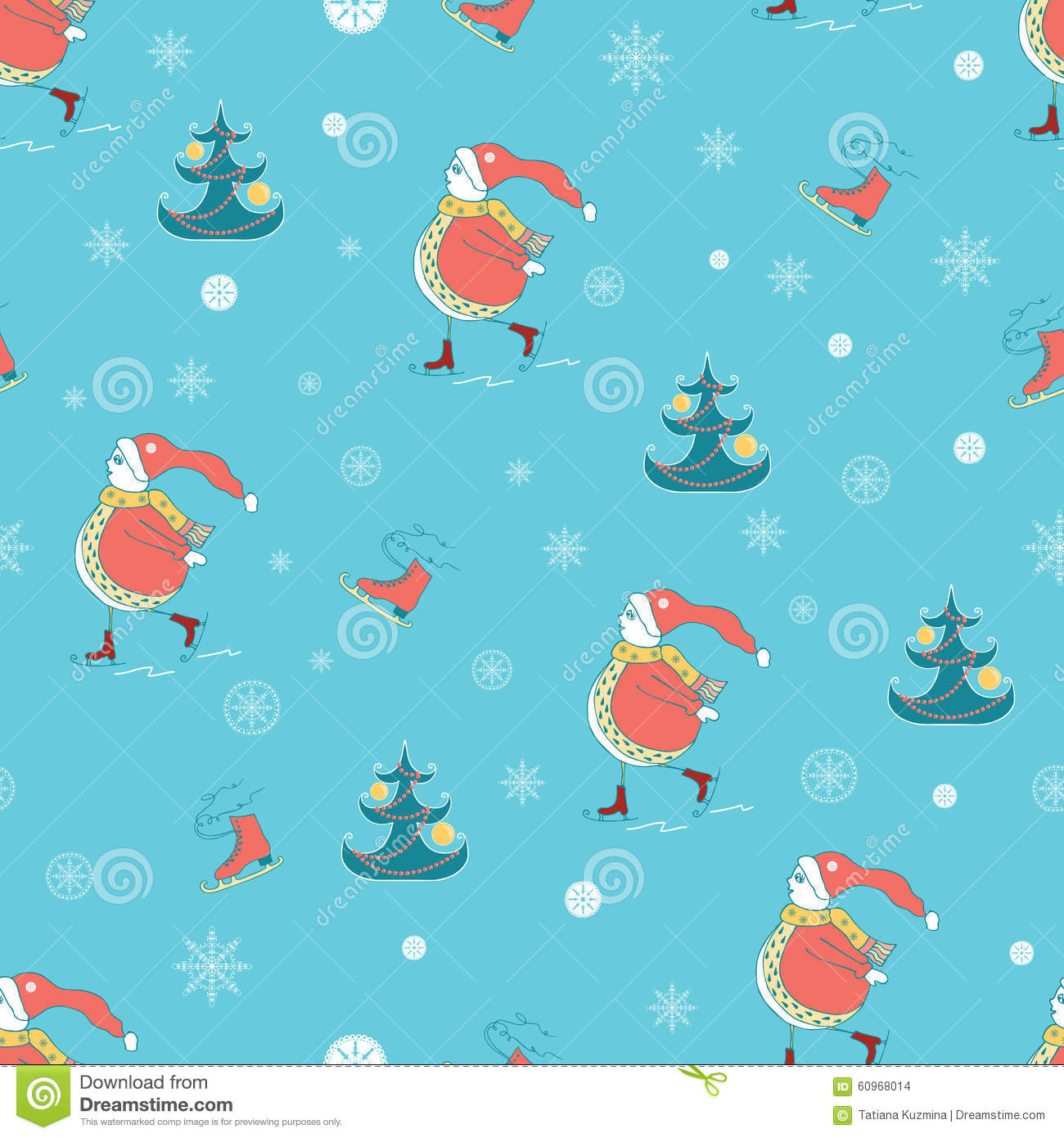 Christmas Wrapping Paper Background With Snowman, Christmas Tree ...