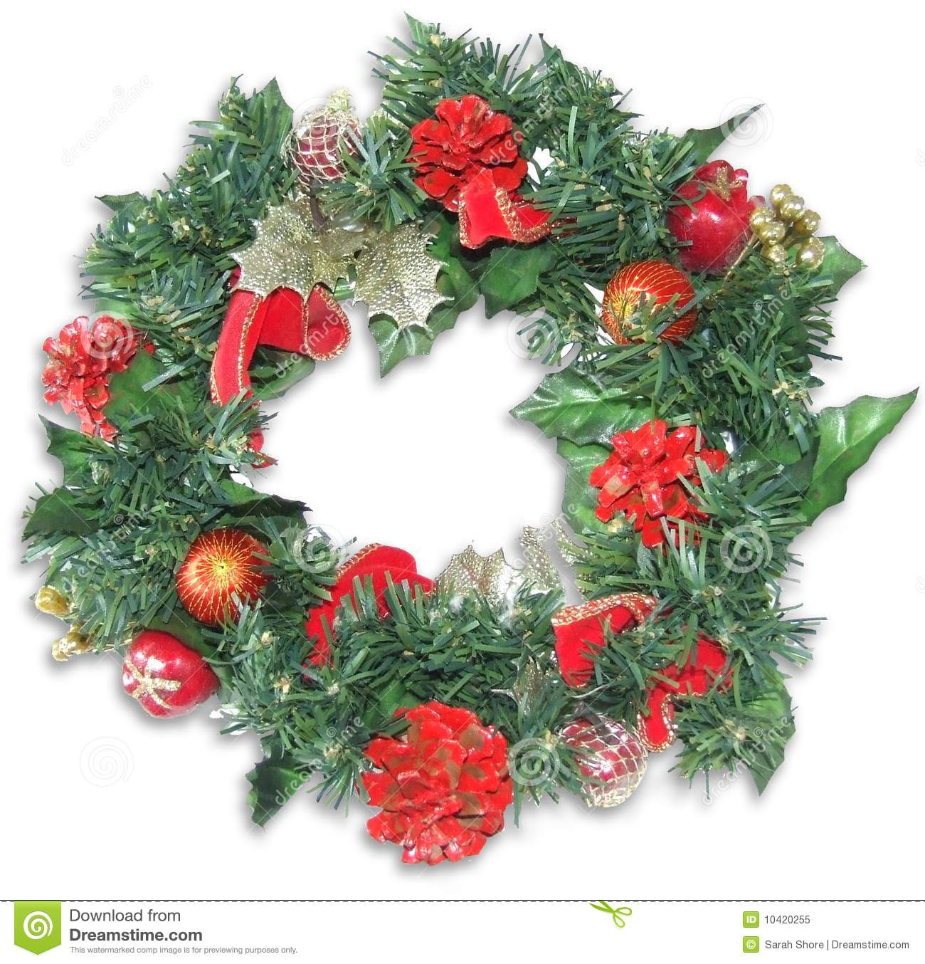 Beautiful christmas wreath in traditional christmas colours