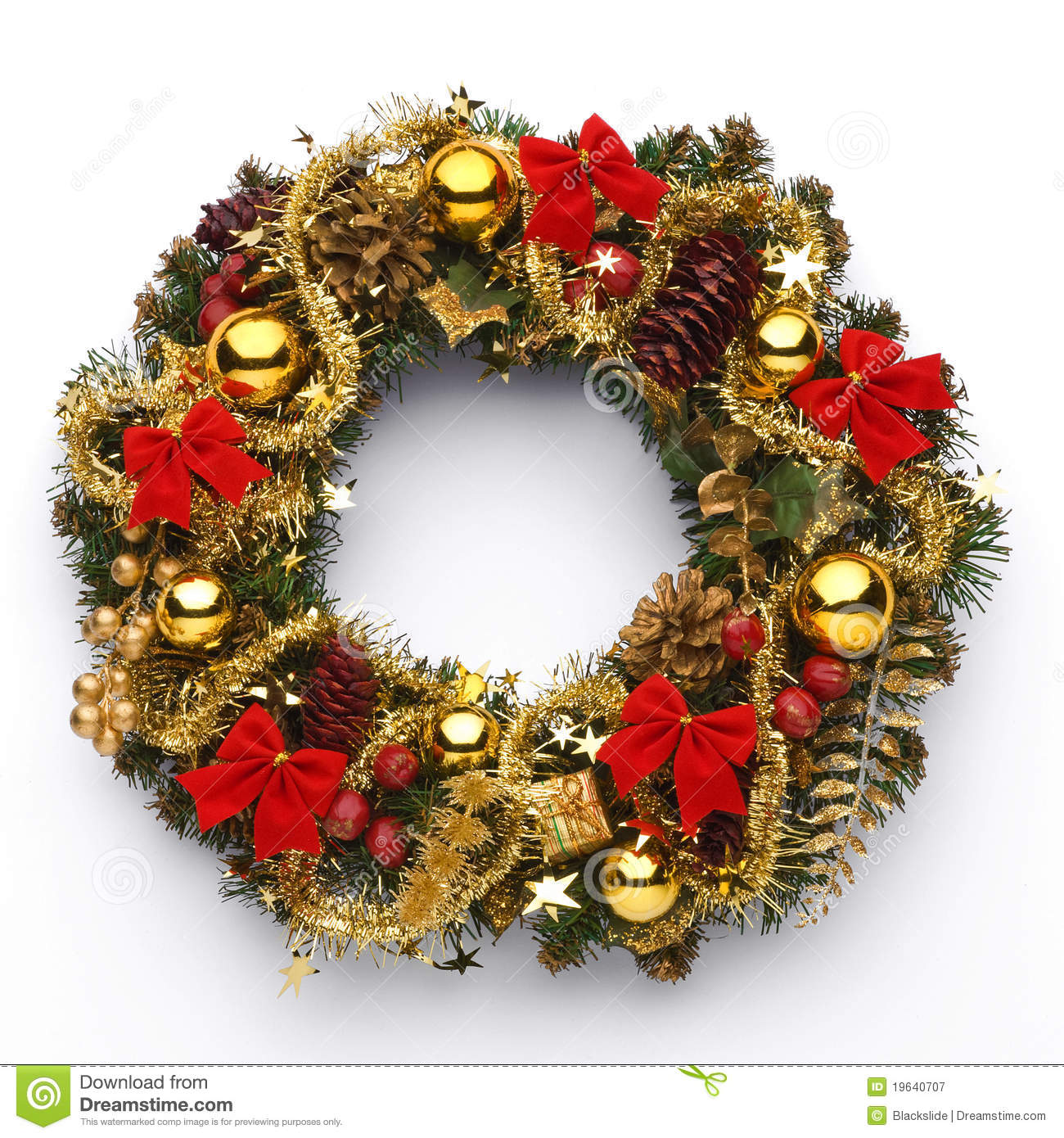 Christmas wreath stock image. Image of gold, festal, door ...