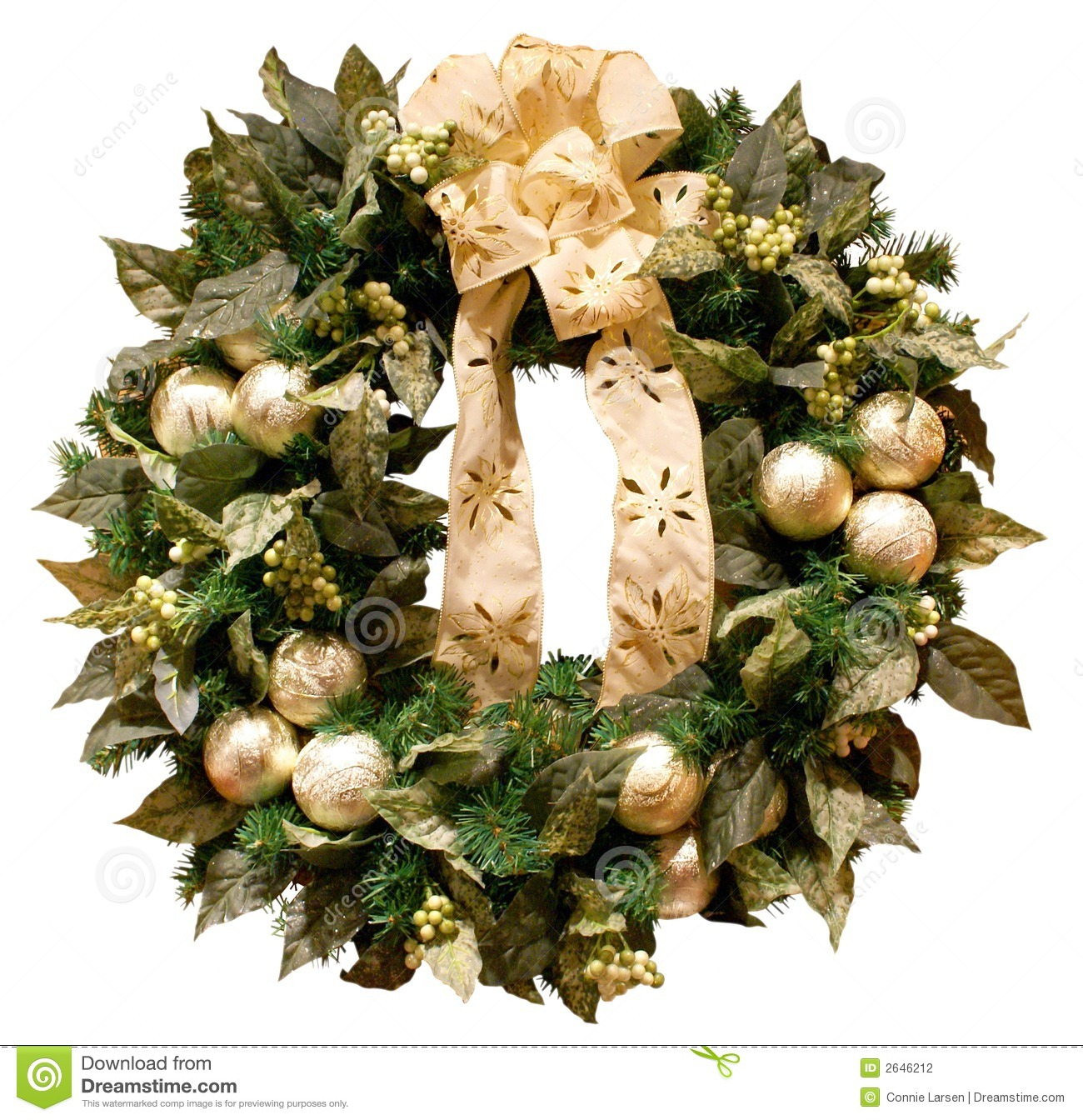 Gold Christmas Wreath.Christmas Wreath Stock Photo Image Of Circle Trims