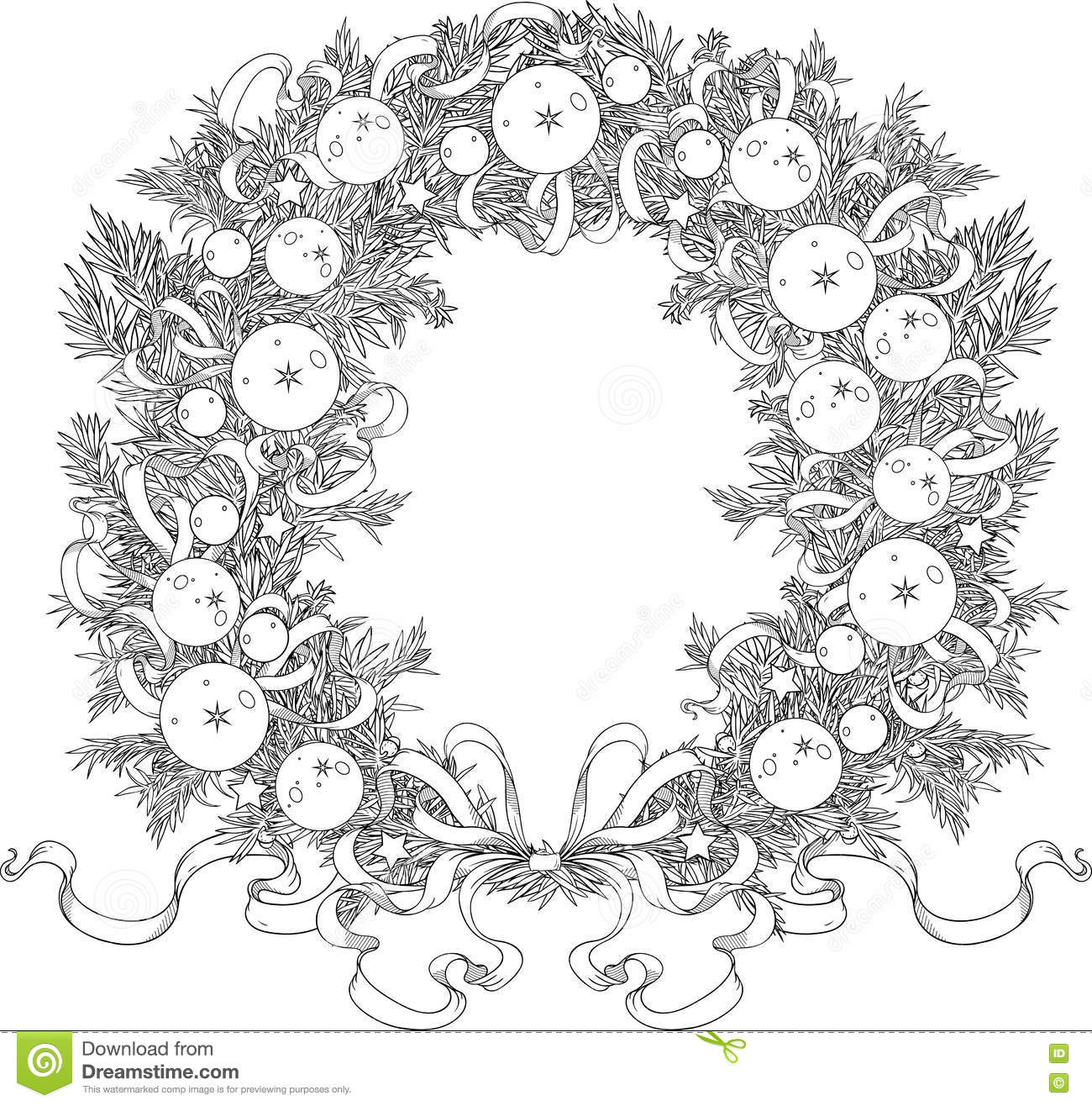 christmas wreath coloring page simple christmas wreath coloring