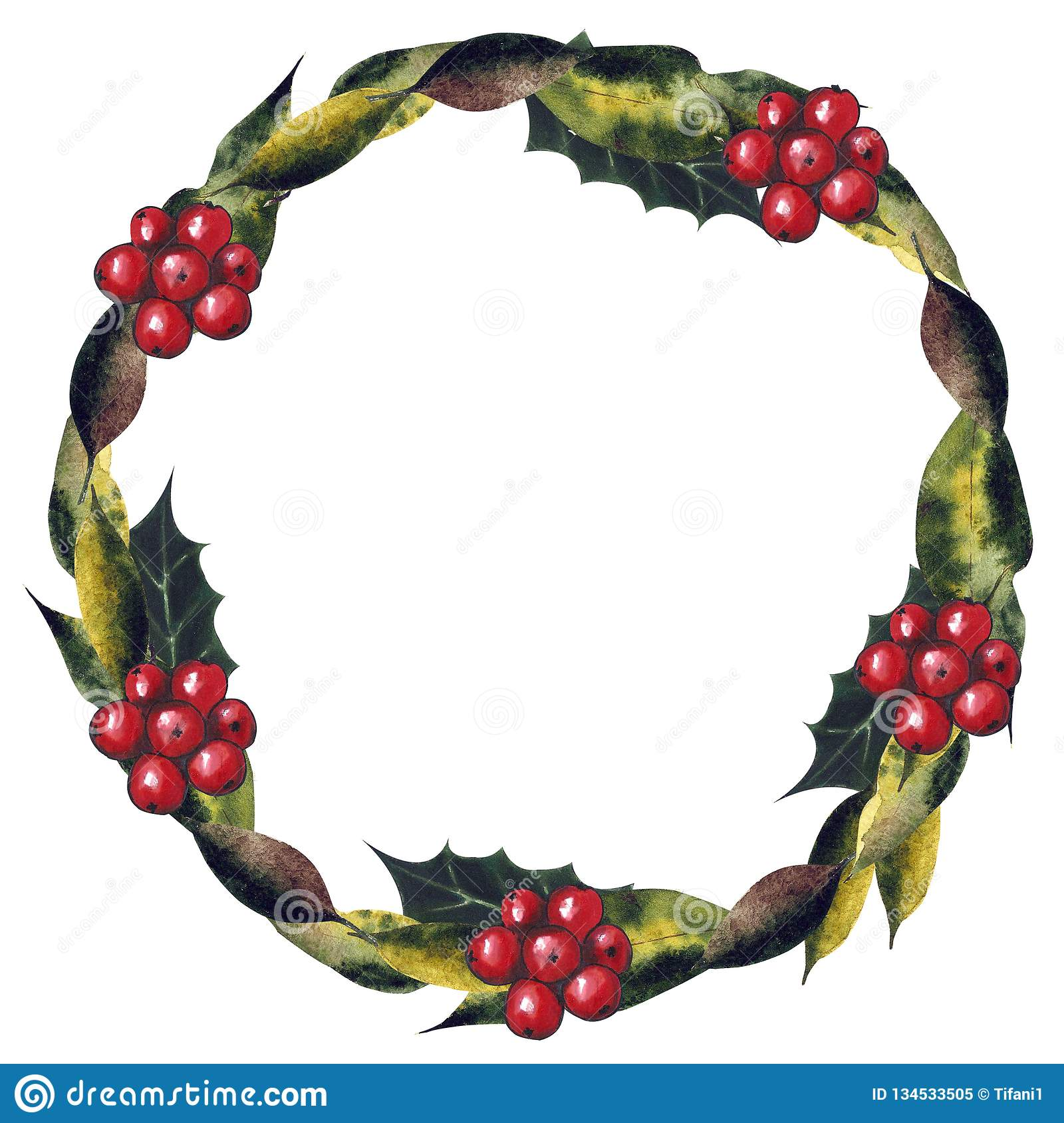 Christmas Wreath Drawing.Christmas Wreath With Berry And Leaves On A White Background
