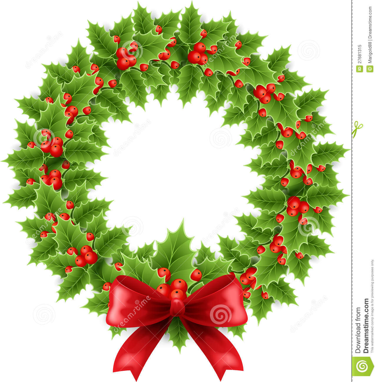 Christmas Wreath With Bow Royalty Free Stock Photo - Image: 27681315