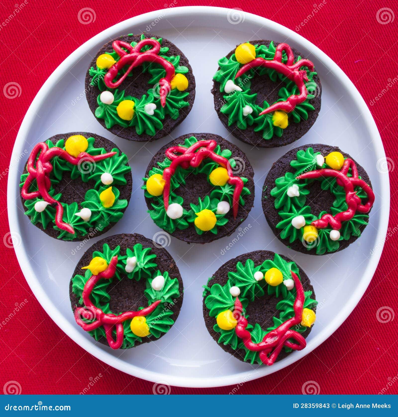 Christmas Wreath Brownies Stock Image. Image Of