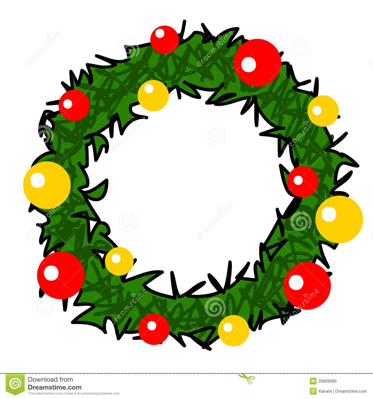 Christmas Wreath Cartoon Stock Illustration Illustration Of