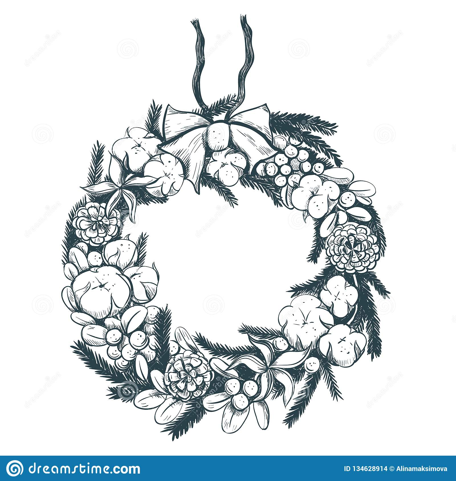 Christmas Wreath Drawing.Christmas Wreath Stock Vector Illustration Of Nature