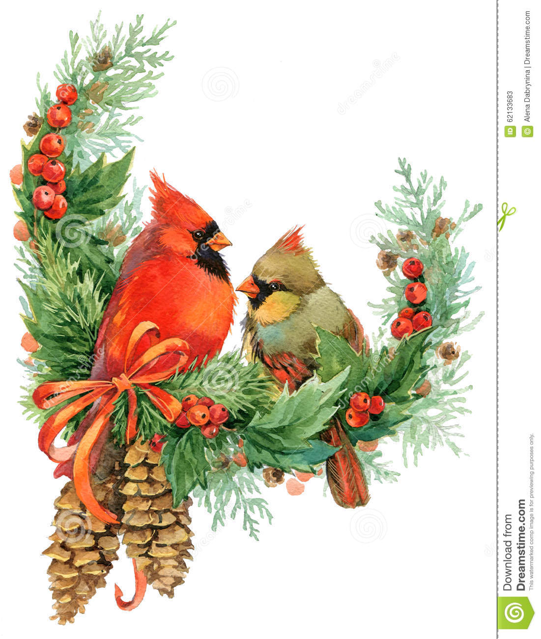 Birds On Christmas Tree: Christmas Wreath And Cute Birds. Watercolor Illustration