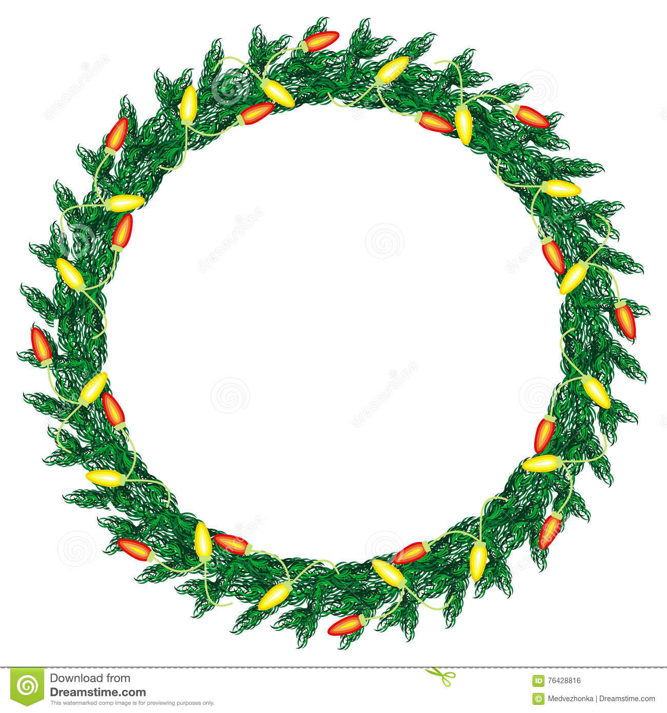 Artworks Christmas Cards.Christmas Wreath Decorated With Light Garlands Stock