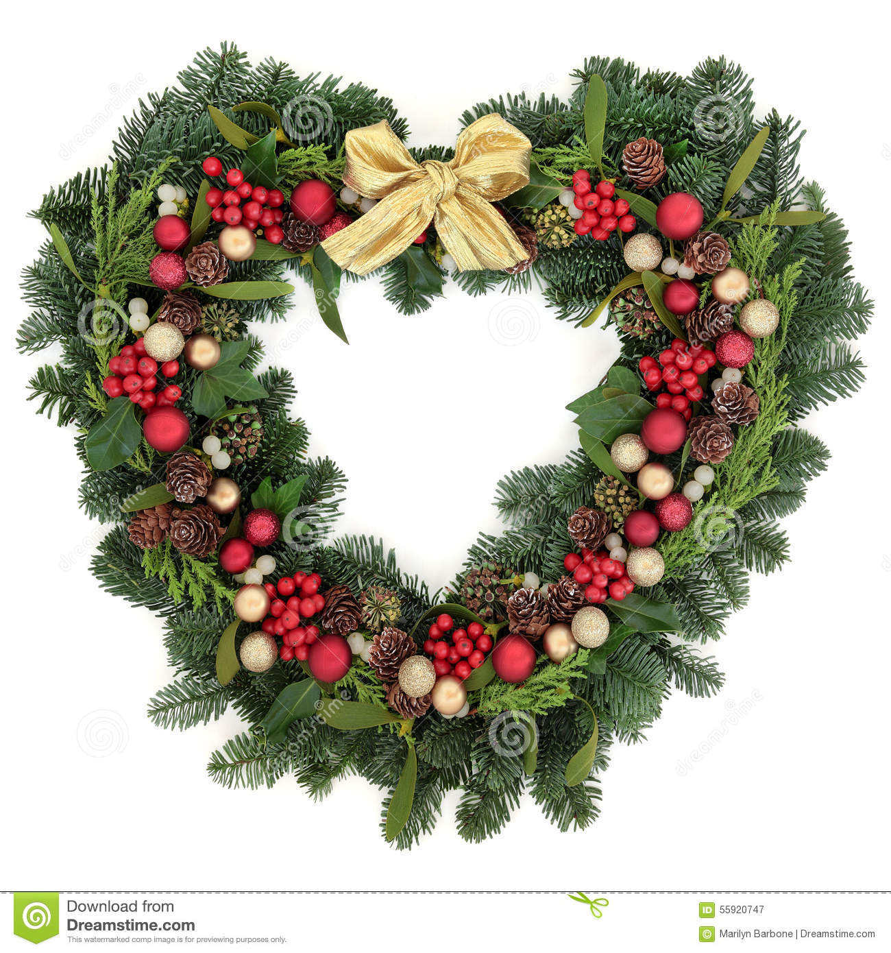 Christmas wreath decoration stock image of festive
