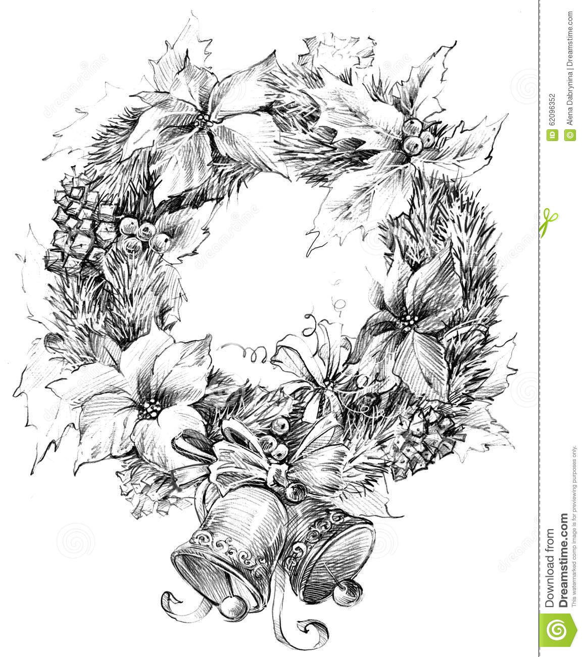 Drawings Of Christmas Wreaths.Christmas Wreath Decoration Sketch For New Year Background