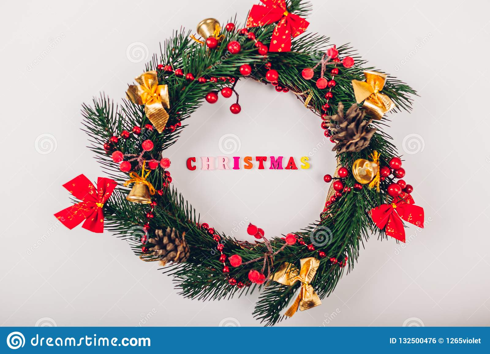 Christmas Wreath With Decoration On White Background Christmas