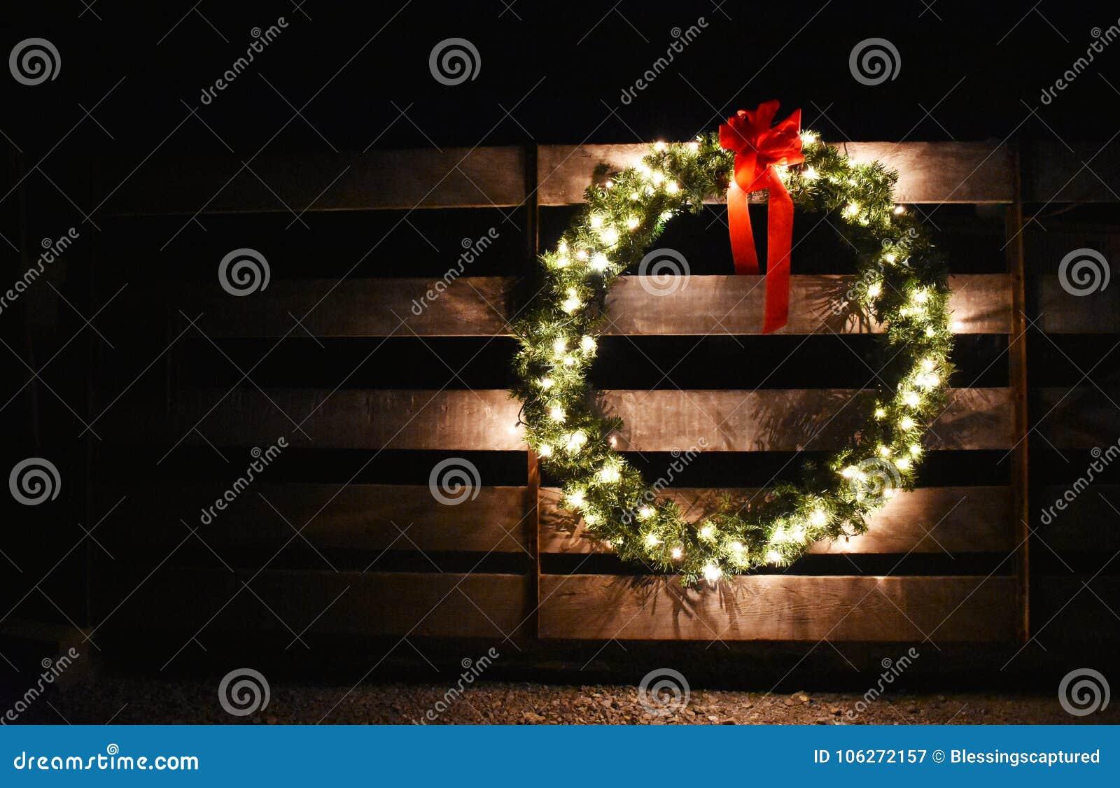 A Christmas Wreath On A Farm Gate Stock Image - Image of christmas ...