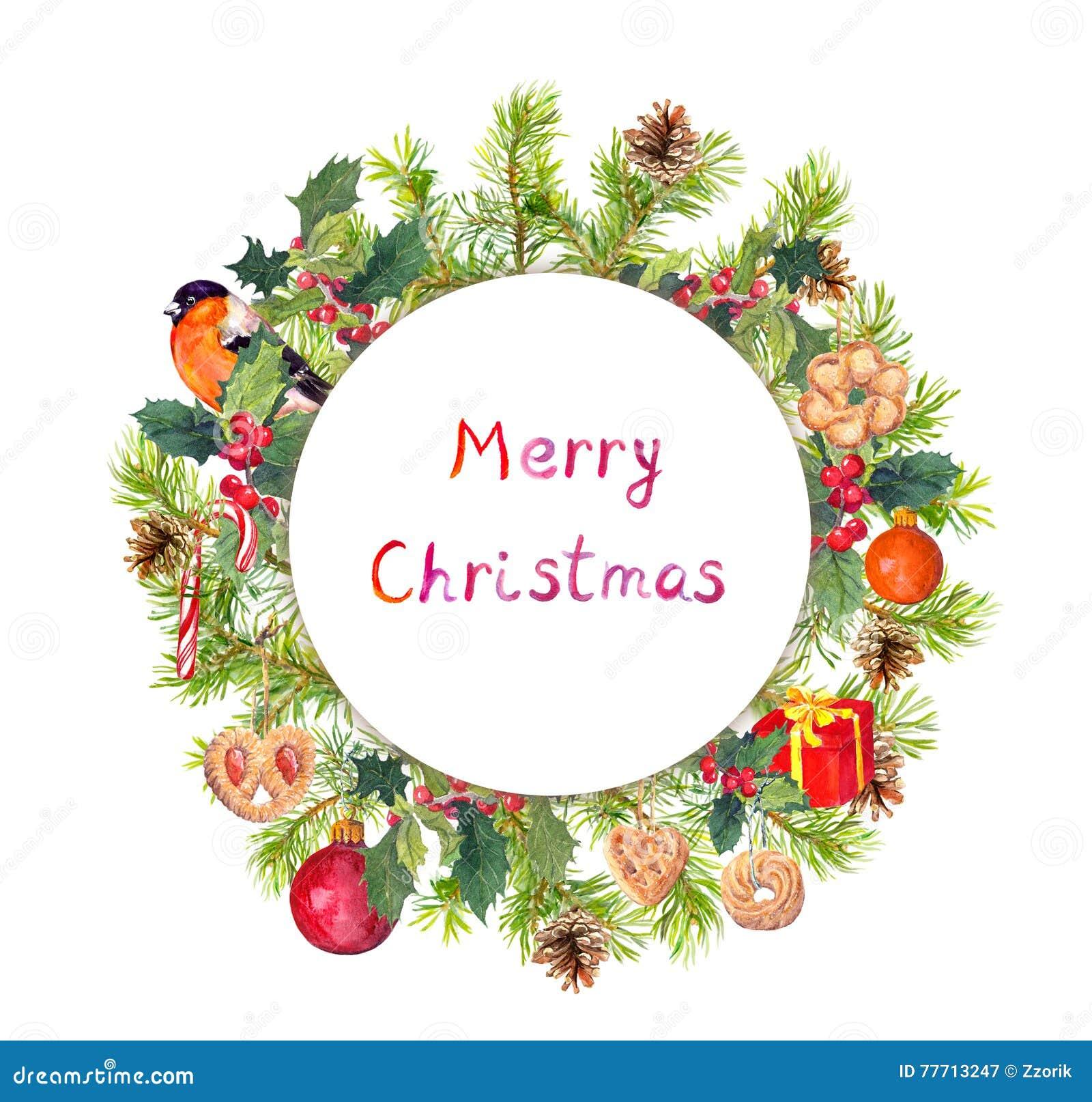 Christmas Wreath Fir Branches Bird Candycane Present Box
