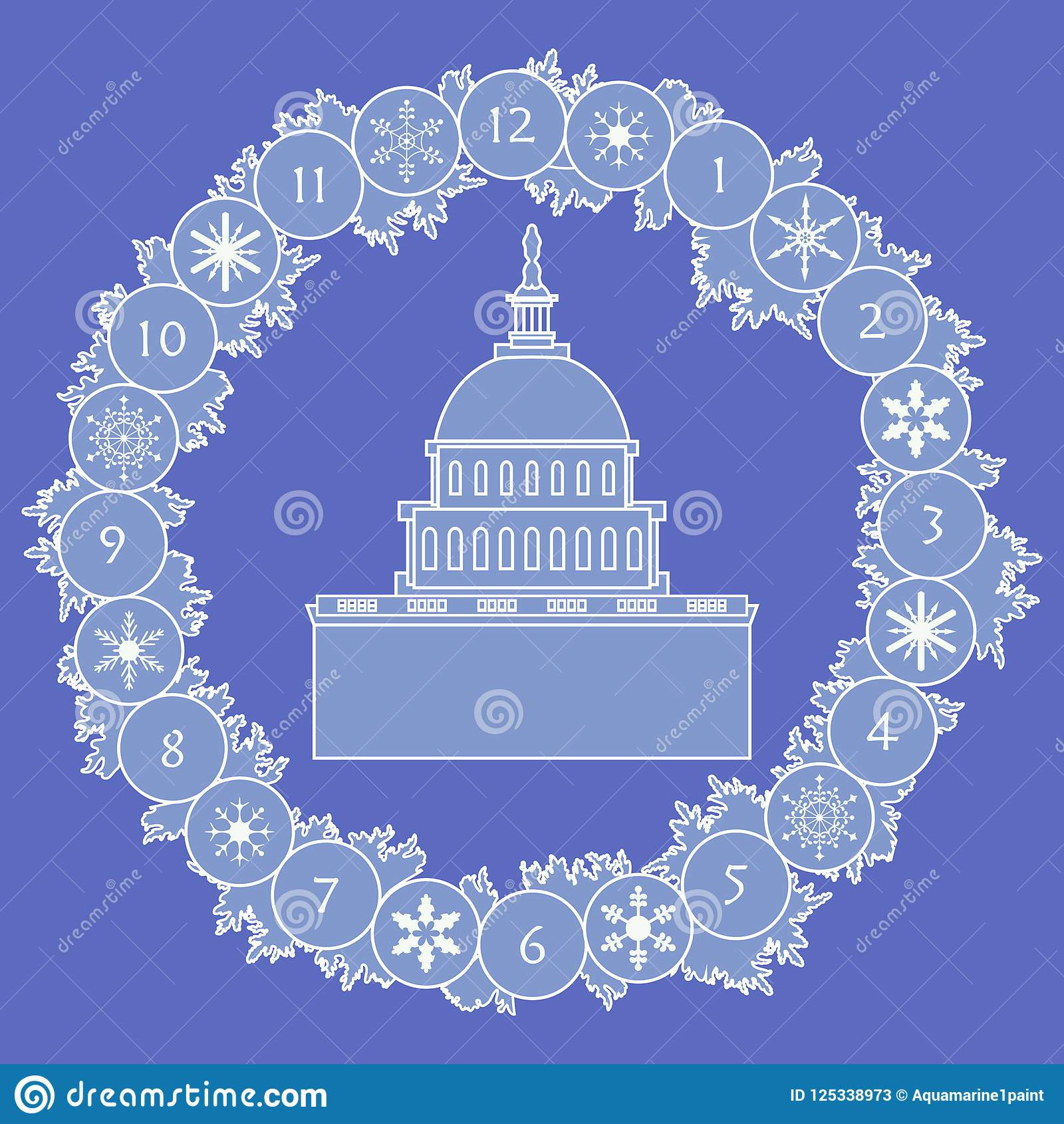 Happy new year 2019 christmas card stock vector illustration of christmas wreath with fir branches snowflakes and famous building in the usa happy new year 2019 christmas card m4hsunfo