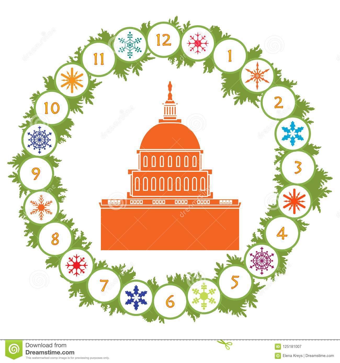 christmas wreath with fir branches snowflakes and famous building in the usa happy new year 2019 christmas card
