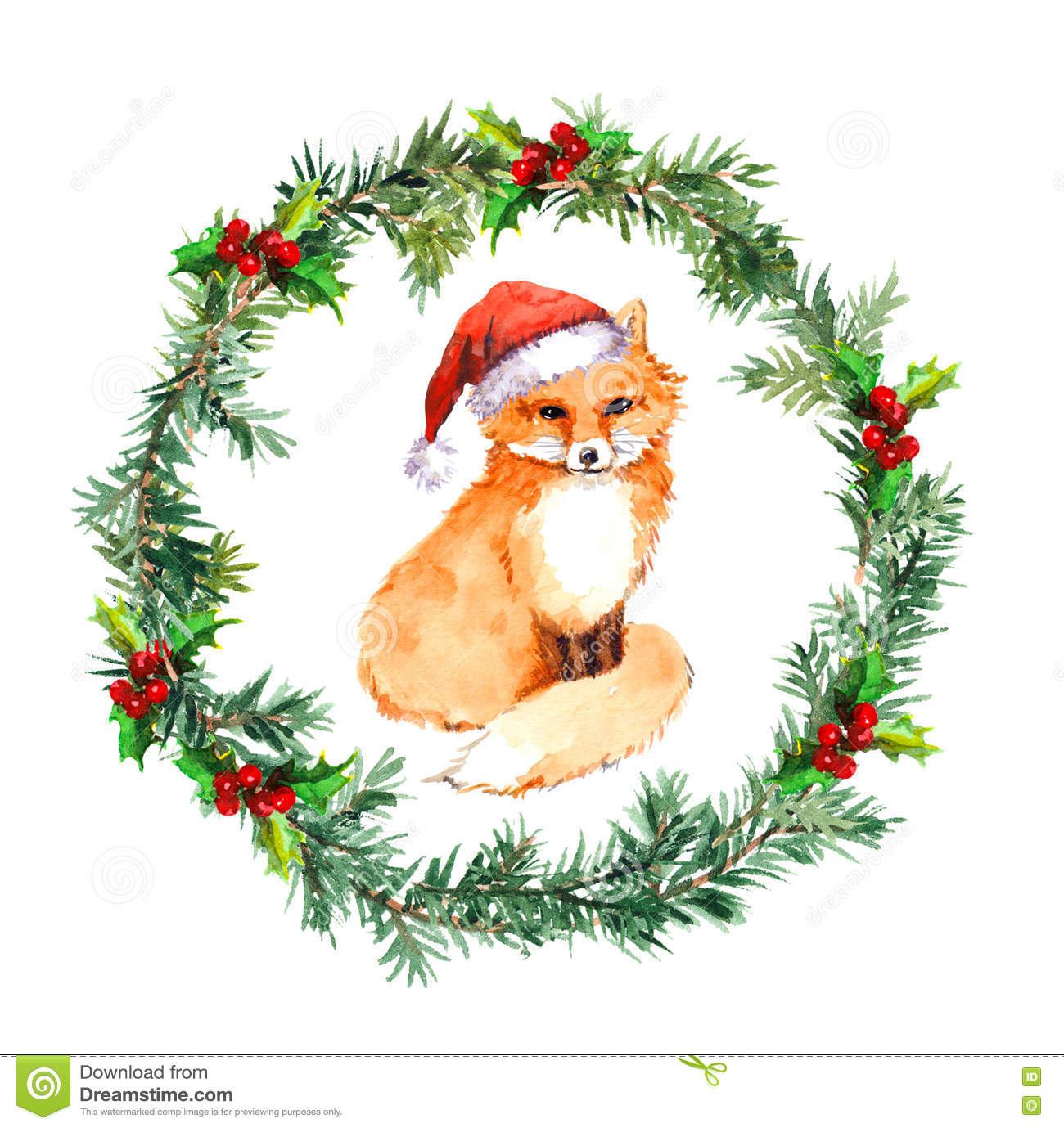 Christmas Wreath With Fox Animal In Red Santa Hat. Watercolor Stock Illustration - Illustration ...