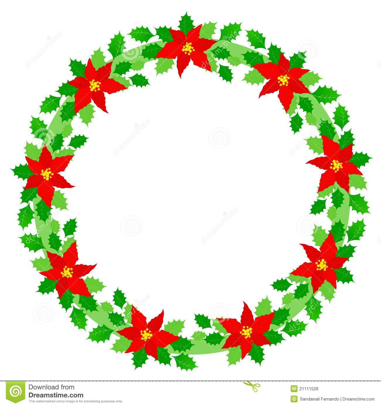 Beautiful Christmas wreath / border with colorful holly, berries and ...