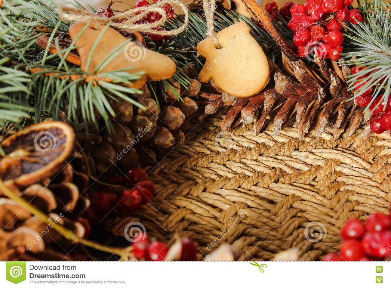 Christmas Wreath With Ginger Biscuits And Blue Spruce Stock Image