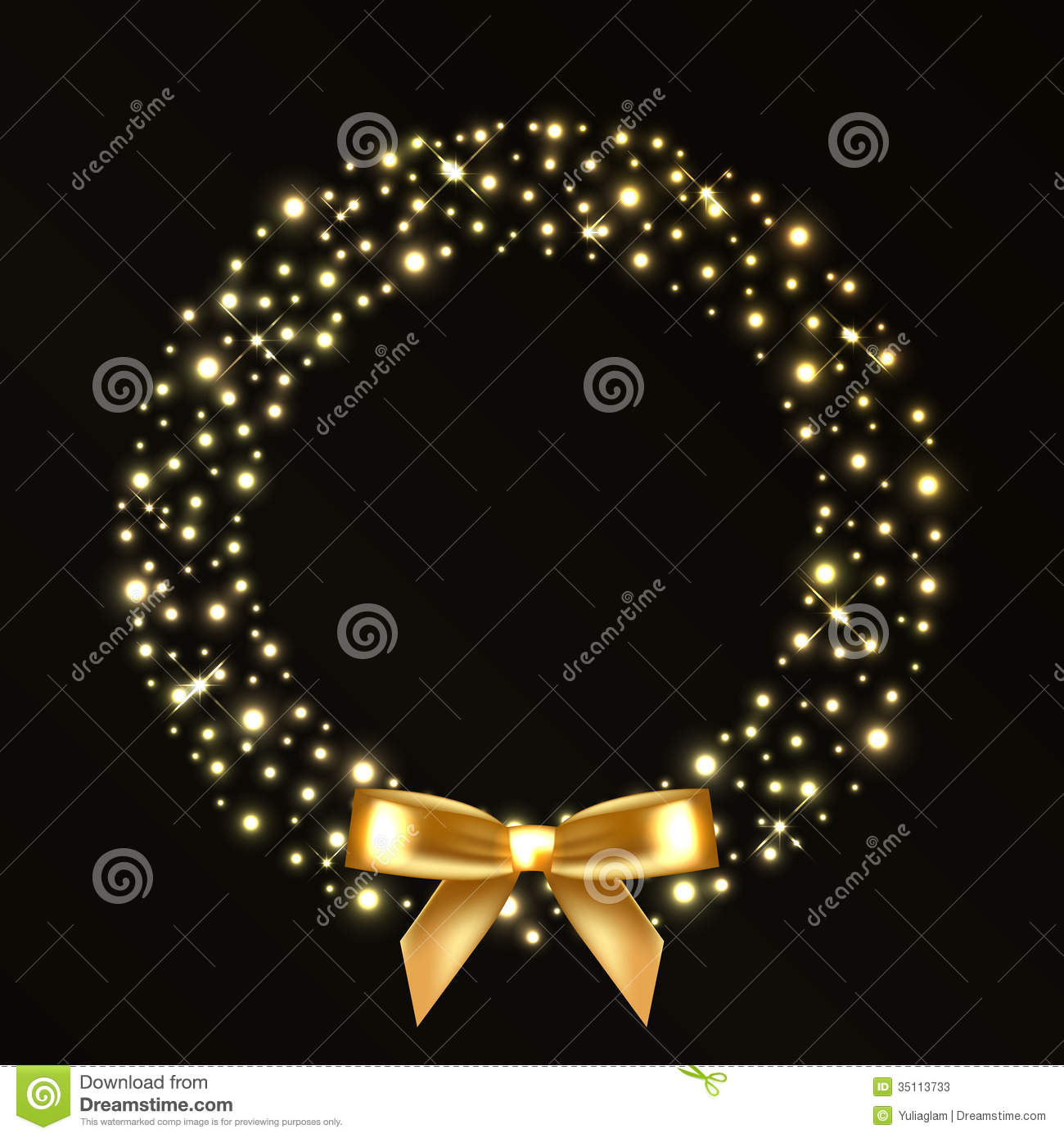Christmas Wreath From Gold Lights Stock Vector ...