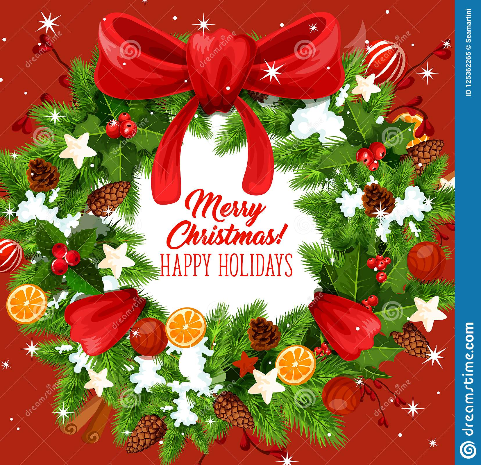 Christmas Wreath Greeting Card Of New Year Holiday Stock Vector