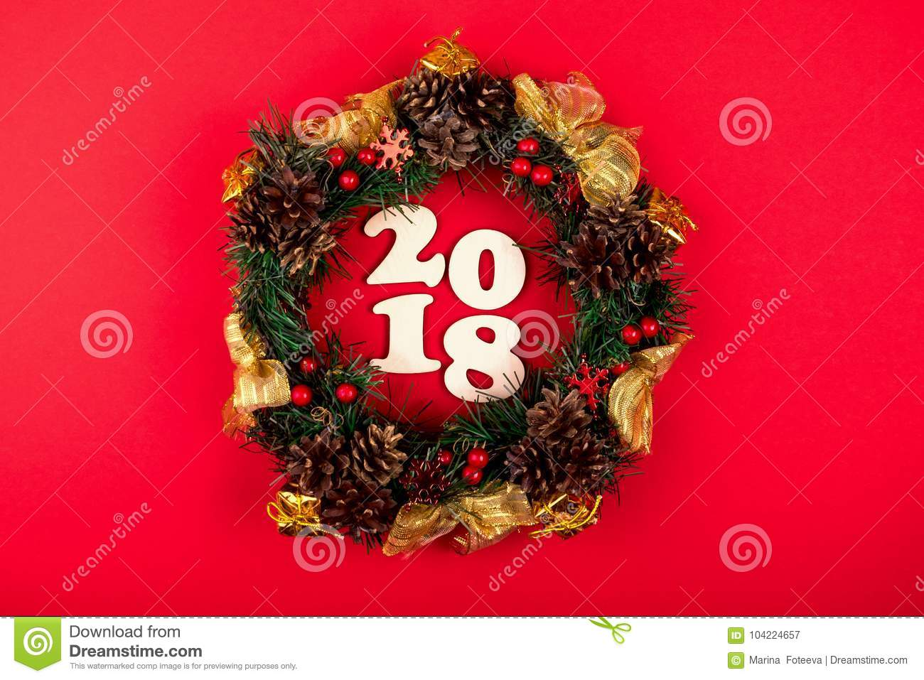 Christmas Wreath, Holiday Composition 2018 On A Red Background. Top View. Stock Image - Image of ...